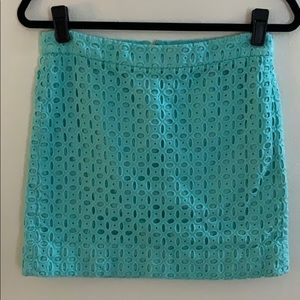 NWOT J. Crew Seafoam Eyelet Mini Skirt Size 6